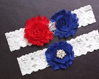 Buffalo Bills Wedding Garter Set, Bills Garter, Buffalo Bills Bridal Garter Set, White Lace Wedding Garter, Football Wedding Garter