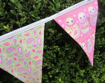 Babushka Fabric Bunting - Soft Pastel Colours, Paisley, Flowers, Girls, Bedroom, Decoration, Party, Pink, Purple, Green