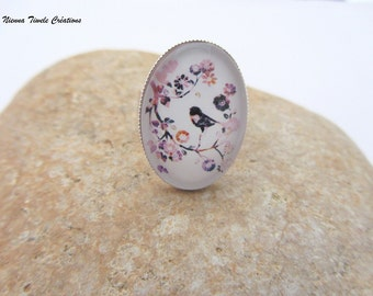 Glass ring, adjustable ring,cat ring,bird jewelry,oval ring, bird ring,french jewelry