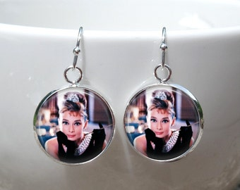 Audrey Hepburn Earrings - Breakfast at Tiffany's Earrings - Audrey Hepburn color photo w/ pearls - Dangle french hook wires lever back posts