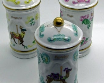 Lenox The Spice Carousel Parsley Sage Oregano Sage  Camel Deer Pig  Fine Porcelain 1993 Handcrafted Jar Container Retired Replacement