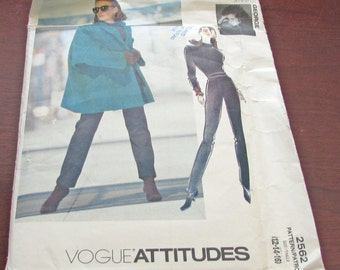 Vogue Attitudes  2562 Jennifer George Sewing Pattern Uncut Factory Folded Jacket Top Pants Very Loose Fitting Lined Hip Size  12 14 16