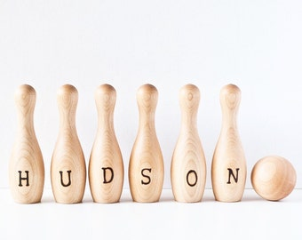 Personalized Wood Bowling Set / Personalized Bowling Set / Custom Childrens Bowling Set / Toddlers Bowling Set / Wood Bowling Game