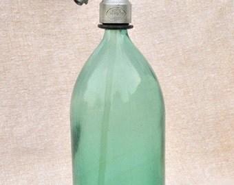 20% Off Vintage Seltzer Bottle / Vintage Romanian Soda Siphon Bottle / Green Blue Vintage Soda Seltzer Siphon Bottle with Aluminium Top 1L c