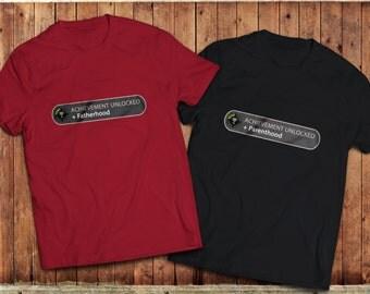Achievement Unlocked T-Shirt, Parenthood, Fatherhood, Motherhood Tee, Video game geek Tee, college humour