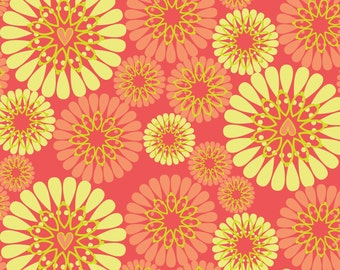 SALE ! Coral Blooms <  Petite Plume Collection by Camelot Fabrics < Fabric by the Yard >  Flowers in Bright Colors
