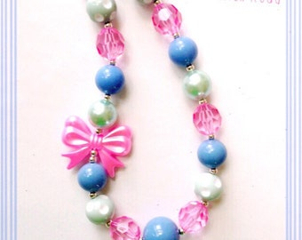 SALE--Pink, Mint and Periwinkle Chunky Bead Necklace