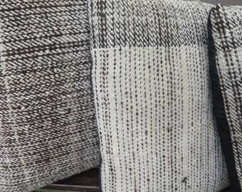 Peruvian Cushion Cover/ Handwoven /Alpaca / Organic Cotton /Minimal /Rustic / kilim