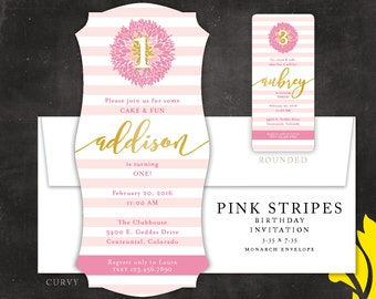 PINK STRIPES . birthday invitation