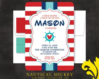 NAUTICAL MICKEY . birthday invitation