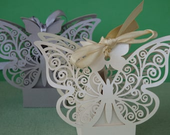 50 wedding favour boxes wedding sweet boxes butterfly decoration
