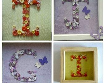 Button initial frame, button monogram, personalised button art, personalised kids wall art, box frame, nursery decor, kids bedroom decor.