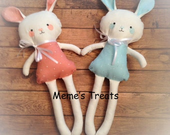 Handmade Fabric Soft Animal -- His or Her Bunny