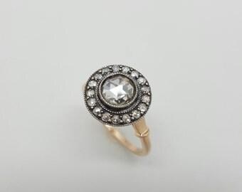 Vintage Russian 14 k Pink Gold 1.00 ct Rose Diamond Engagement Ring