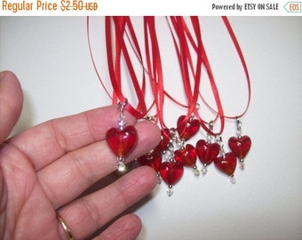 On Sale Heart Valentine Red Glass Tiny heart Pendant Necklace was 5.00 now 2.50