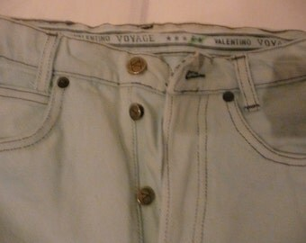 Vintage Valentino denim light blue jeans trousers pants made in Italia sz 16