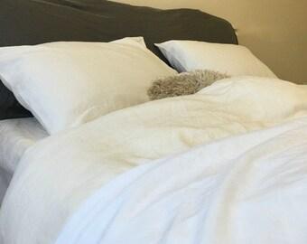 Ivory linen bedding, Ivory linen duvet cover,  linen duvet, queen comforter, king comforter,