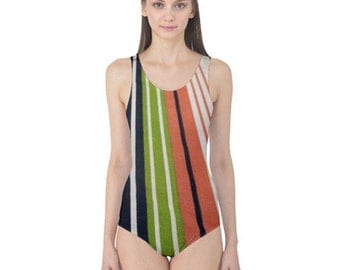 Striped One Piece Swimsuit, Stylish, Exotic, and Uniquely Artistic Designed Women's Swimwear, Free Worldwide Shipping, SALE