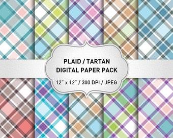 Plaid Digital Paper, Tartan Digital Paper, Plaid Background, Digital Scrapbook Paper, Geometric Digital Paper, Instant Download