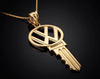 Polished Yellow Gold VW Volkswagen Key Pendant Necklace - 10k, 14k