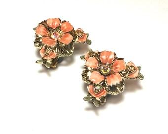 50s Flower Earrings | Orange Enamel Flower Clip Earrings | Costume Jewelry
