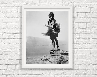 Native American Photography - The Eagle Catcher - Edward Curtis - Hidatsa Indian - Edward Curtis Photography - Black and White - Eagle Photo