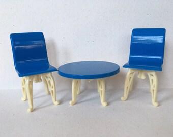 Plasco Patio Table & Chair Set~vintage Dollhouse Furniture 1:16