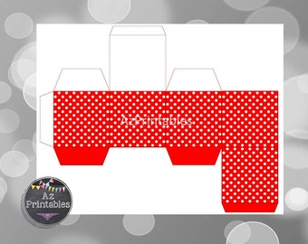 printable box, instant download, red favor box, printable favor box, white, polka dots, diy, red printable favor box