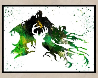 Harry Potter, Stag Patronus and Dementor, Watercolor print,  watercolor painting, aquarelle, colorful, for childrens(02)