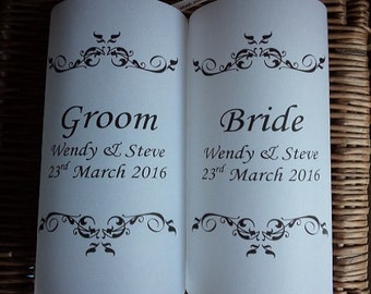 Wedding luminaires for the Bride and Groom, Wedding table numbers, table numbers, flameless candles, personalised, luminaire, wedding décor