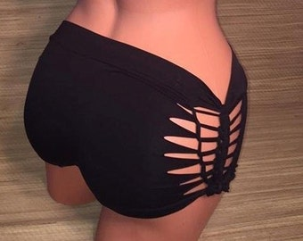 Cut Out Weaved Sides Slashed Boy Shorts