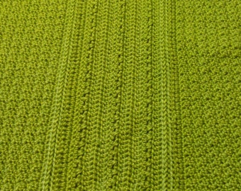 "Lime Green Eli Blanket  36"" x 36"", extra large baby afghan, bright, nursery, infant, crib"