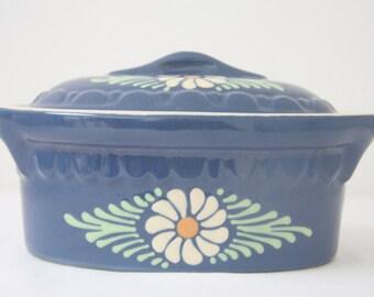 Vintage Ceramic French Blue Flowered Foie Gras Terrine Pate Pot
