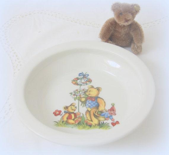 Vintage James Kent Old Foley Children's Cereal Bowl/Small Deep Plate, Bear Decor