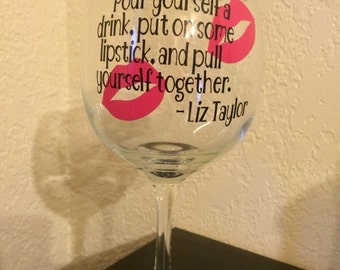 Wine Glass, Personalized Wine Glass, Liz Taylor, Elizabeth Taylor,