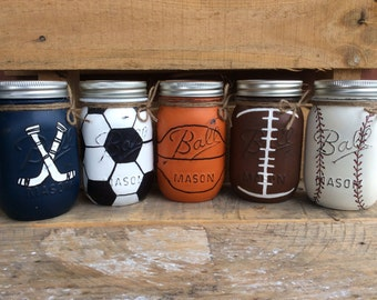 Beautiful Set Of 3 Sports Jars. Home, Bathroom, Party Decor
