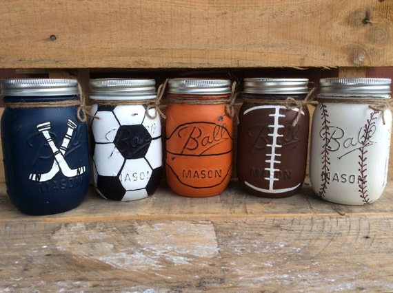painted mason jars. sports jars. bathroom bedroom party
