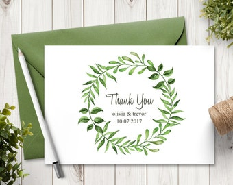 """Watercolor Wreath Wedding Thank You Card Template """"Lovely Leaves"""", Green. DIY Printable Thank You Note. MS Word, Instant Download."""