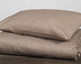 Linen Pillow case, Linen Bedding, Linen Pillow case, Light Brown Melange Pillow Case