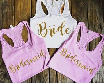 Bridesmaid Tank Top. Bridesmaid Tanks. Bridesmaid Shirts. Bride Tank Maid of Honor Tank Bride Shirt Bachelorette Party Shirts
