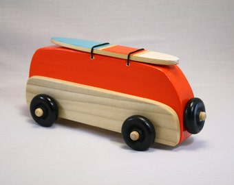 "VW Bus Wood Toy-Orange-With Painted Surfboard ""Surf Bus"""