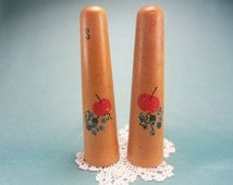 Vintage Wooden Salt and Pepper Shakers, Made in Japan, Nasco, Cherry SP, Apple Shakers