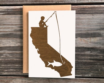 California Boy Fishing Silhouette Art Greeting Card