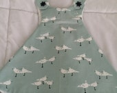 Seagull print cotton sundress for infant