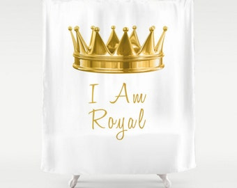 Royal Gold Shower Curtain Crown I Am Royal Gold And White Quote Saying Home Bath Room Decor