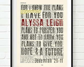 Bible scripture PERSONALIZED ART PRINT Jeremiah 29:11, Hope, encouragement, For I know the plans, Graduation, Wedding gift, christian art
