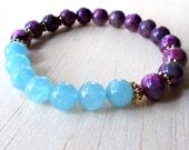 Womens Healing Bracelet Sugilite Bracelet Yoga Bracelet Meditation Bracelet Zen Buddhist Jewelry Positive Energy Bracelet Emotional Support