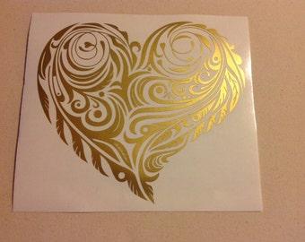 Feather Flourish Heart - Vinyl Decal Sticker
