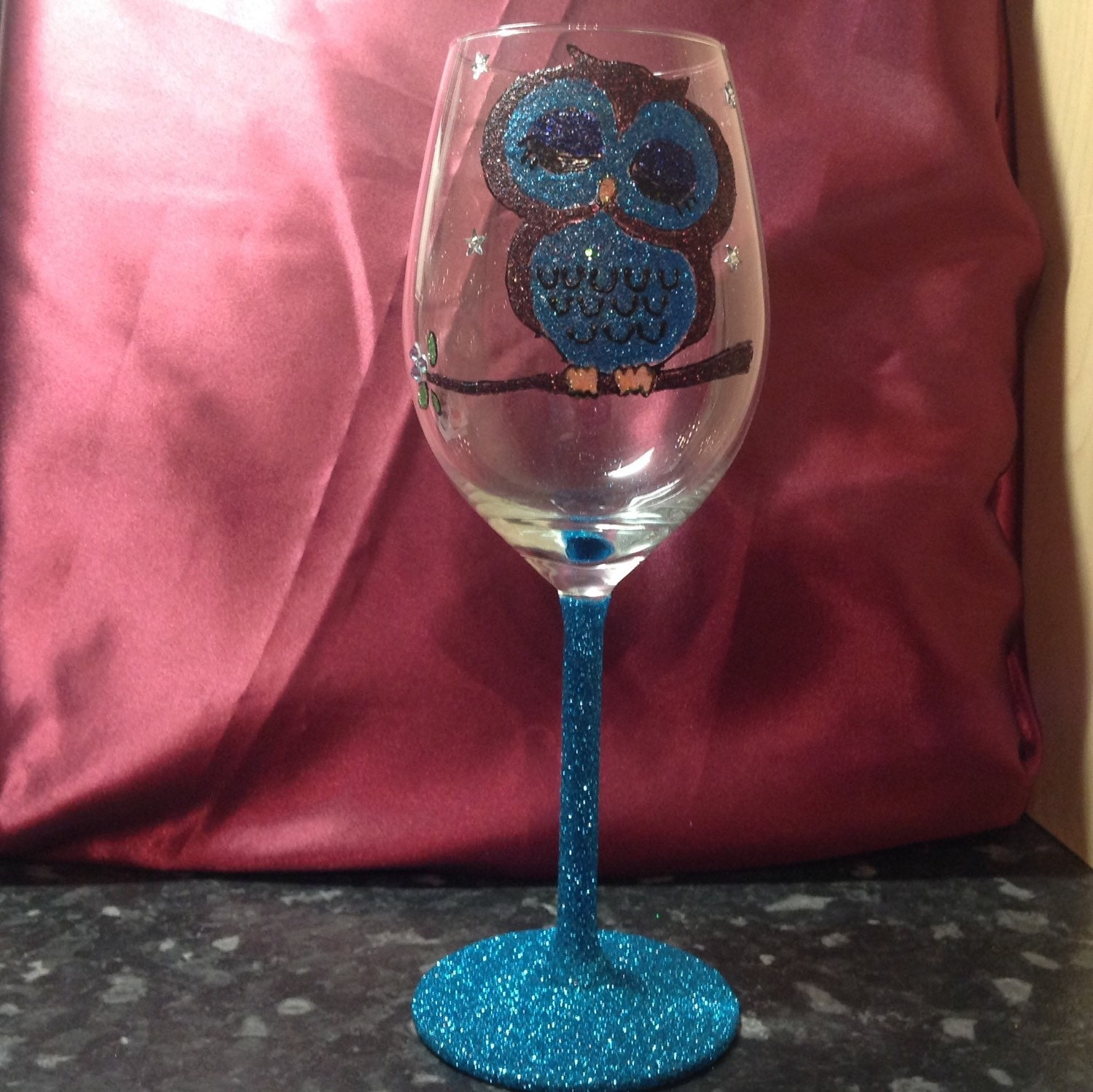 Large white wine glass with glitter owl for Large white wine glasses