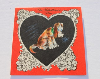 Vintage Puppy Dog Valentine Card, 1940s 40s Unused Valentines Day Cute Card with envelope